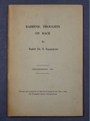 Rabbinic Thoughts on Race (signiertes Widmungs-Exemplar; signed dedication copy).